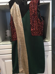 Forest green sequinned dress