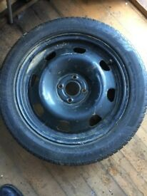 NEW TYRE ON RIM. 205 50 15. 10.00 POUNDS. READY FOR UPLIFT