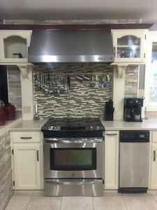 Cabinets and Corian countertops