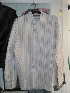 Brand New Perry Ellis Dress and Casual Pin Stripe Button Shirt