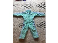 Green & Blue 3 years, ski suit & size 24 boots