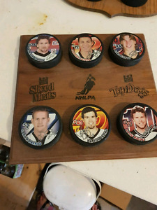 NHLPA Maple Leaf Top Dog plaque with 6 pucks