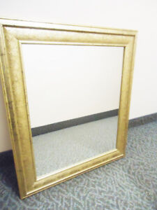 Large Gold Wood Frame Wall Mirror - Rectangle Shape