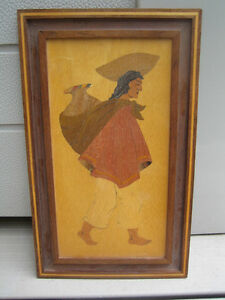 hand made  wood inlay native / mexican