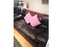 3 piece leather suite in brown