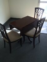 Solid birch drop leaf and 3 chairs