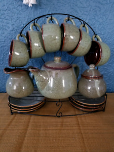 Green Speckled Pottery Tea Set with Stand