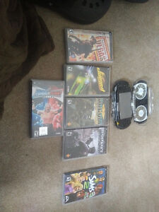 Black Psp with hard case and 6 games