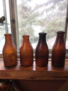 Amber quart milk bottles