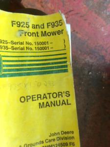 john deere F 935 manual