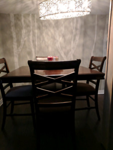 Solid wood high-top table and chairs