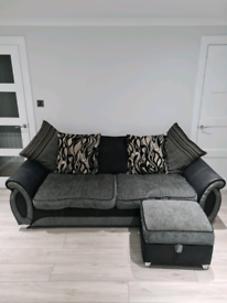 DFS 4 Seater with Sofa Cuddle Chair And Storage Foot Stool
