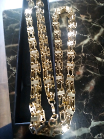 Gold filled luxury 3d cage chain 36inches new