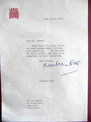 Michael Foot - *SIGNED*  Letter - British Prime Minister - Labour Party