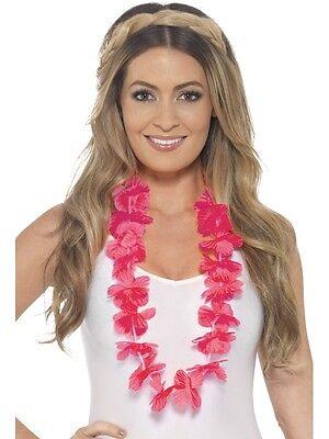 Hawaiian Fancy Dress Lei Garland Pink Floral Hawaiin Necklace New by - Hawaiin Lei
