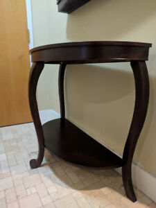 DARK WOOD SEMICIRCLE TABLE