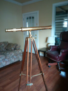 Antique style brass telescope with Mahogany brass stand