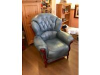 Leather armchair, blue, excellent condition & very comfortable