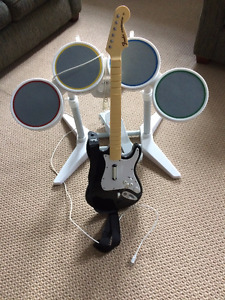 Nintendo Wii drums and guitar
