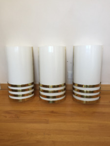 3 Vintage Brass & White Wall Sconces