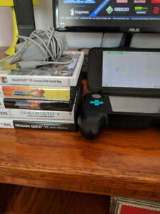2DS XL, grip, charger, 5 games