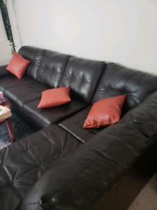 L Shape Leather Couch + 3 leather pillows SOLD