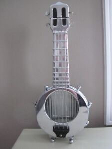 Mid Century Glass and Chrome Musical Liquor Banjo