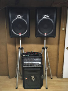 PA system (Powered Mixer) with monitor, stands, and cables