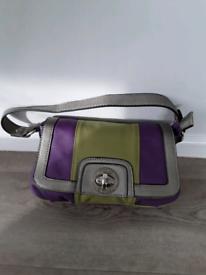 Gionni Purple and Lime Green Hand bag