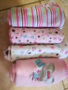 4 warm winter receiving / swaddle blankets good condition
