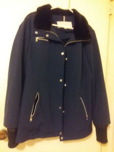 jessica simpson blue coat with faux fur collar