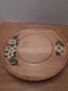 Vintage hand painted wooden tray