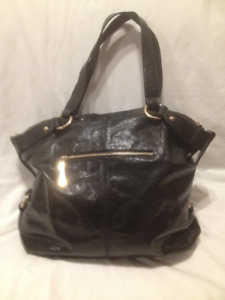 New Large Black Leather 'Pelle Studio' Hobo Shoulder Bag/Tote