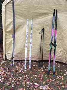 Adult cross country skis and poles