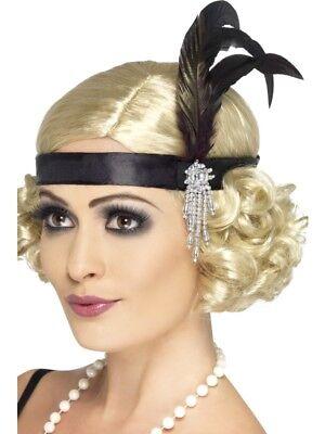 20er Jahre Charleston Kopfband Stirnband schwarz 20ies - 20er Jahre Mafia Kostüm