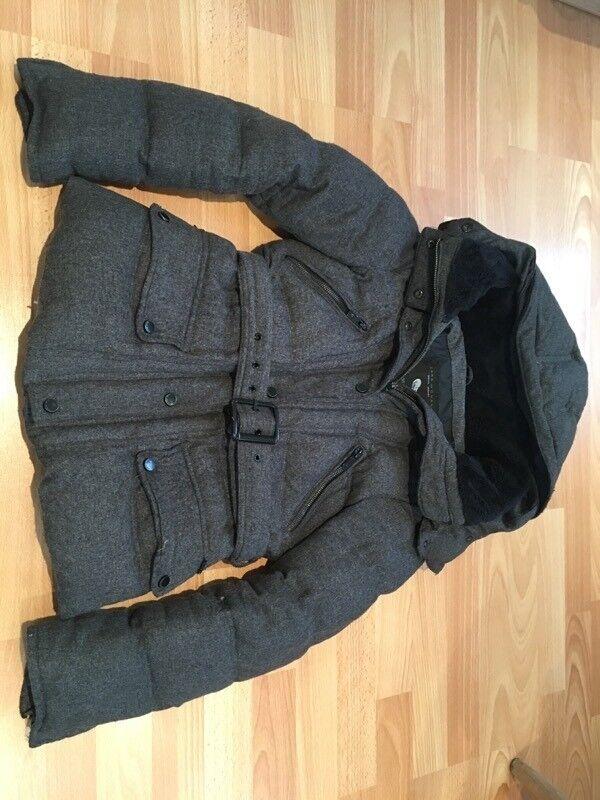 Zara Grey Charcoal Down Hooded Winter Coat Jacket Size Medium