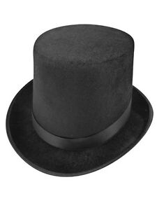 Adult Tall Black Velour Velvet Top Hat Lincoln Victorian Ringmaster Fancy Dress