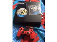 Ps4 500gb with flame red controller