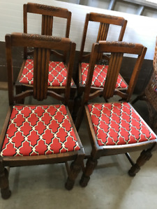 FOUR oak dining room chairs