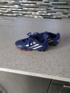 Girls size 13 addidas soccer cleats and shin guards