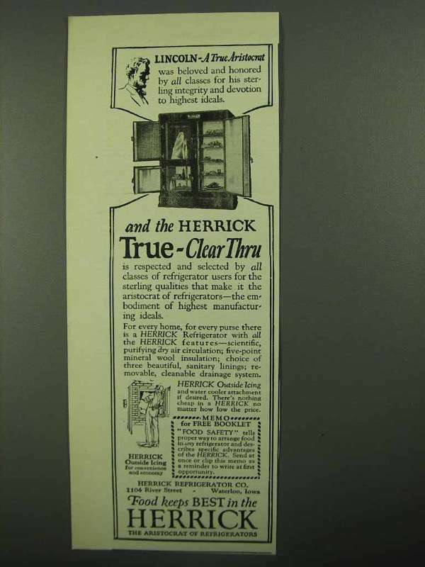 1922 Herrick Refrigerator Ad - Lincoln True Aristocrat
