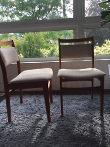 Pair of teak dining chairs made by Nordic Furniture, Markdale