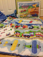 Kids full  bedding set, cars, trains and airplanes.Queen or full