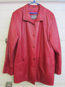 Womens Red Leather Spring Fall Jacket