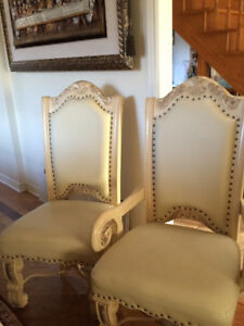 6 Mint Italian Creme Leather Dining Rm Chairs, High Quality!