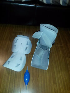 Short ankle Walking boot Cast and crutches