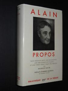 ALAIN / PROPOS / BIBLIOTHÈQUE DE LA PLÉIADE 1956 COMME NEUF