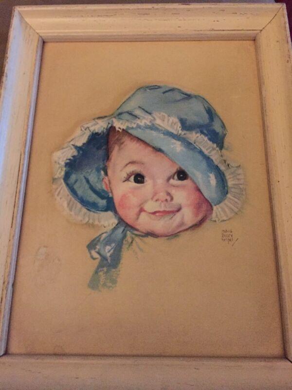 Vintage Maud Tousey Fanpel 3D Baby in Blue Bonnet