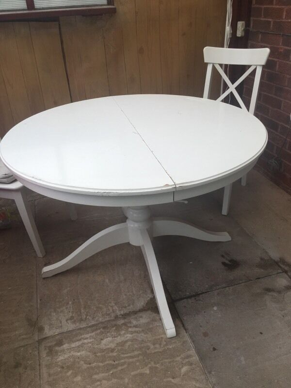 Ikea Ingatorp Extendable White Dining Table In