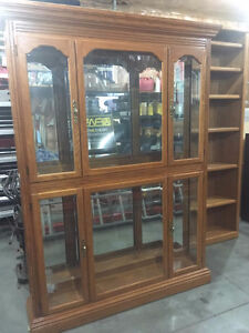 REAL OAK CABINET WITH GLASS SHELVES. MAKE AN OFFER